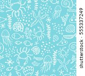 seamless pattern with sea... | Shutterstock .eps vector #555337249