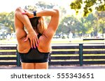 fitness and lifestyle concept   ... | Shutterstock . vector #555343651