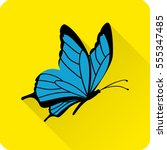 butterfly icon in flat style... | Shutterstock .eps vector #555347485