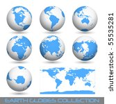 collection of earth globes end... | Shutterstock .eps vector #55535281