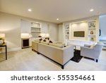 chic basement features a gray... | Shutterstock . vector #555354661