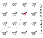 paper airplane challenge... | Shutterstock .eps vector #555362665