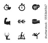 set of 9 editable active icons. ... | Shutterstock .eps vector #555364567