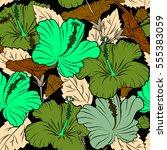 seamless tropical flower ... | Shutterstock . vector #555383059