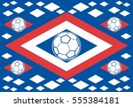 russia flag and soccer ball... | Shutterstock .eps vector #555384181