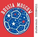 russia flag and soccer ball... | Shutterstock .eps vector #555384211
