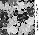 hibiscus flowers seamless... | Shutterstock . vector #555384265