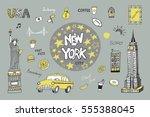 new york city illustrations set. | Shutterstock .eps vector #555388045