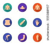 part of body set icons in flat... | Shutterstock .eps vector #555388957