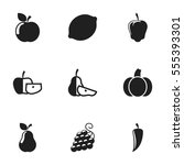 set of 9 editable food and... | Shutterstock .eps vector #555393301