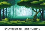 Stock vector a high quality horizontal seamless background of landscape with deep forest 555408847