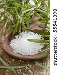 sea salt with herbs in a wooden ... | Shutterstock . vector #55541398