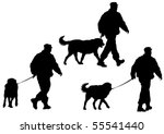 Stock photo image of police man with a dog on a leash 55541440