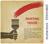 hand with brush. painting house ... | Shutterstock .eps vector #555414865