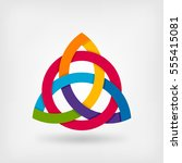 abstract symbol triquetra in... | Shutterstock .eps vector #555415081