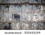 wall of skulls at chichen itza  ... | Shutterstock . vector #555435199