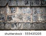 wall of skulls at chichen itza  ... | Shutterstock . vector #555435205