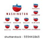 set of modern logo usa city... | Shutterstock .eps vector #555441865