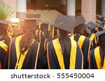 graduation ceremony ... | Shutterstock . vector #555450004