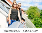 home owners are happy with... | Shutterstock . vector #555457339