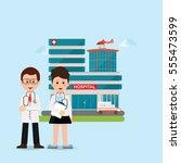 doctors and nurse standing in... | Shutterstock .eps vector #555473599