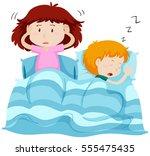 two kids under blanket... | Shutterstock .eps vector #555475435