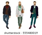 handsome young guys with... | Shutterstock . vector #555480019