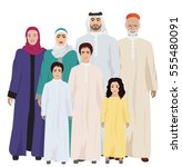 big and happy arab family ... | Shutterstock . vector #555480091