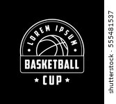 basketball cup emblem line icon ... | Shutterstock .eps vector #555481537
