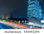 urban traffic with cityscape in ... | Shutterstock . vector #555492295