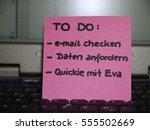 Small photo of Memo note on notebook, to do check e-mail, ask for data, Quickie with Eva