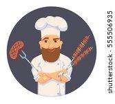 chef cooking bbq in restaurant... | Shutterstock .eps vector #555506935