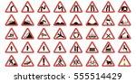 set road warning signs  road... | Shutterstock .eps vector #555514429