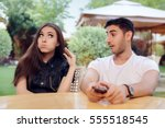 couple arguing on a date at a...   Shutterstock . vector #555518545