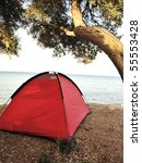 On the beach, tent - stock photo
