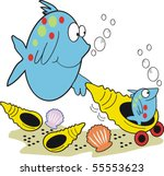 Vector cartoon of happy mother fish with baby fish in pram shell.