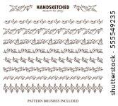 vector set of pattern brush or... | Shutterstock .eps vector #555549235