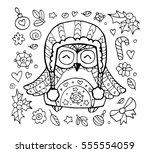 xmas owl. merry christmas. cute ... | Shutterstock .eps vector #555554059