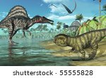 A tropical prehistoric scene with several dinosaurs, including two spinosauruses, a psittacosaurus in the foreground, and three dorygnathuses in flight. 3D render - stock photo