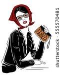 vector illustration. fashion... | Shutterstock .eps vector #555570481
