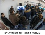 Small photo of VELIKA GORICA, CROATIA - DECEMBER 10, 2016: 25th Anniversary of Croatian Air Force and Air Defence. People trying flight simulator.