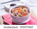 steamed rice   Shutterstock . vector #555575407