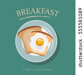 breakfast table vector ... | Shutterstock .eps vector #555581089