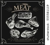 hand drawn meat elements set...   Shutterstock .eps vector #555581119