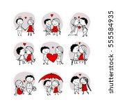 couple in love kissing ... | Shutterstock .eps vector #555584935