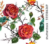 Red Roses. Seamless Watercolor...