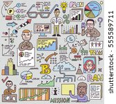 doodle business people with... | Shutterstock .eps vector #555589711