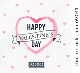 happy valentines day card  | Shutterstock .eps vector #555593041