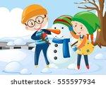 two kids hugging snowman... | Shutterstock .eps vector #555597934