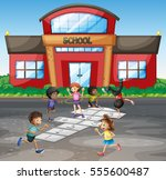 Students Playing Hopscotch At...